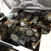 Landrover Motor with radiator removed